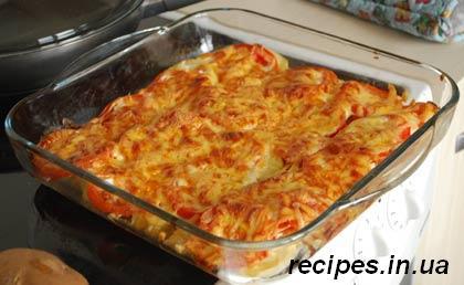 Запеканка из картошки с фаршем в духовке и с помидорами